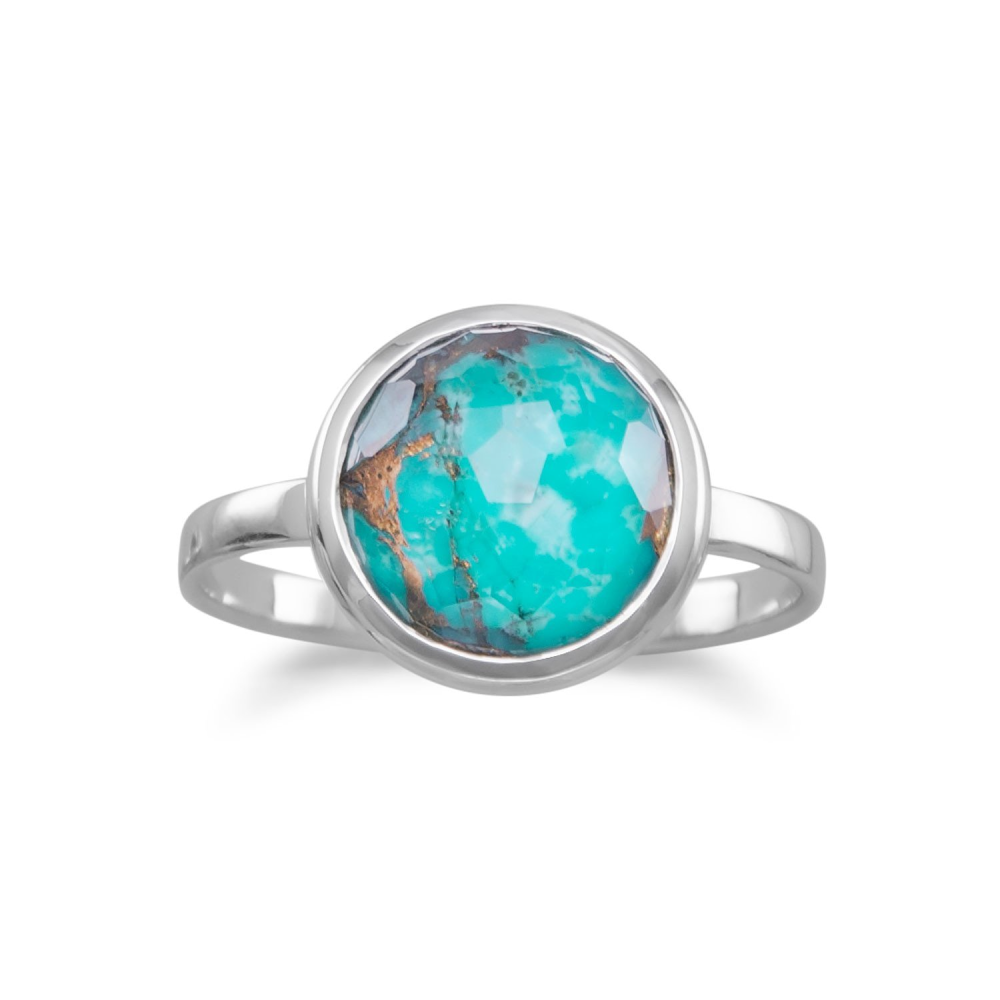 Large Round Freeform Faceted Quartz over Turquoise Stackable Ring