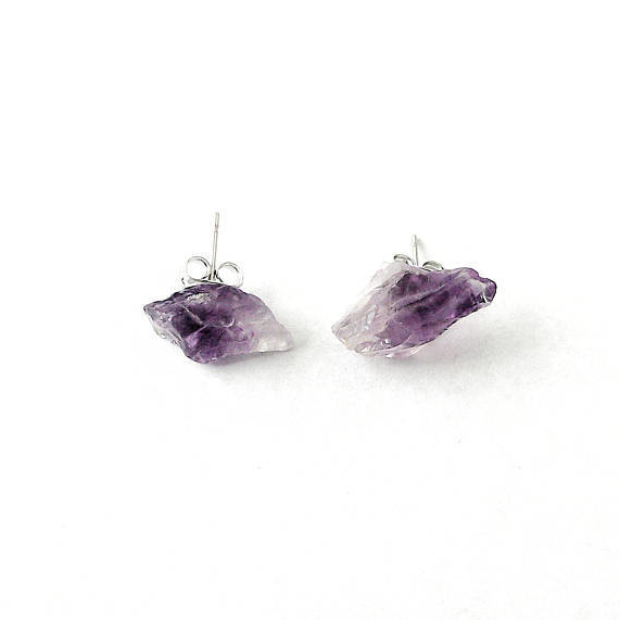 Raw Amethyst Stud Earrings