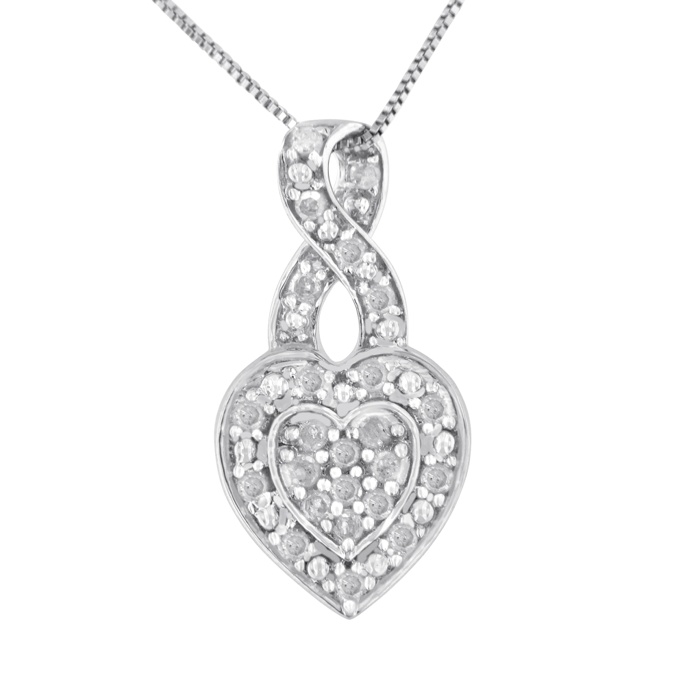 Stunning Sterling Silver 0.35ct TDW Diamond Heart Pendant Necklace (I-J, I3)