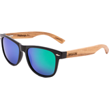 Handmade Zebra Wood Hybrid Sunglasses - Aqua Blue Polarized Lenses