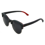 Black 1/2 Wood Frame Skateboard-Gray Polarized lenses