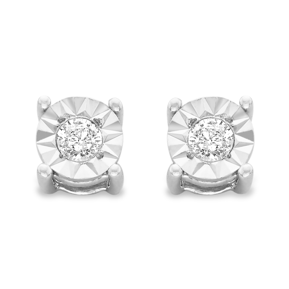 Sterling Silver .10ct. TDW Round-Cut Diamond Miracle-Plated Stud Earrings (J-K,I3)