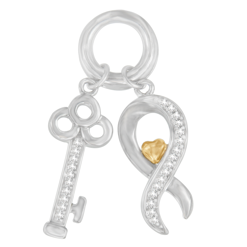 Modern Two Tone Sterling Silver 0.15 CTTW Round Cut Diamond Ribbon and Key Accent Charm Pendant