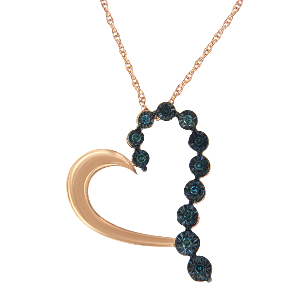 Gorgeous Rose Plated Sterling Silver 0.1ct TDW Treated Blue Rose Cut Diamond Heart Pendant Necklace (Blue,I2-I3)