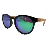 Black Framed Zebra Wood, Beach Days -Green Lenses