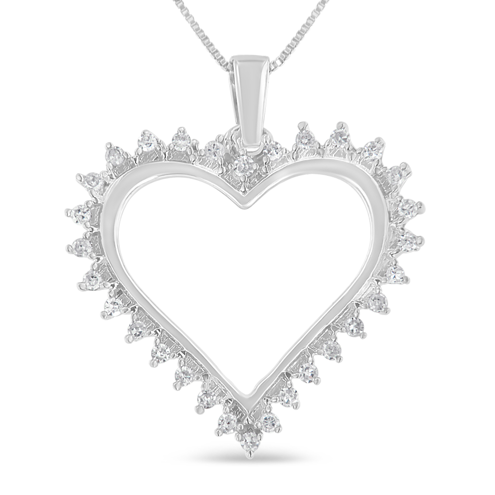 Brilliant sterling silver 14ct tdw diamond heart pendant necklace brilliant sterling silver 14ct tdw diamond heart pendant necklace i j i3 mozeypictures Images