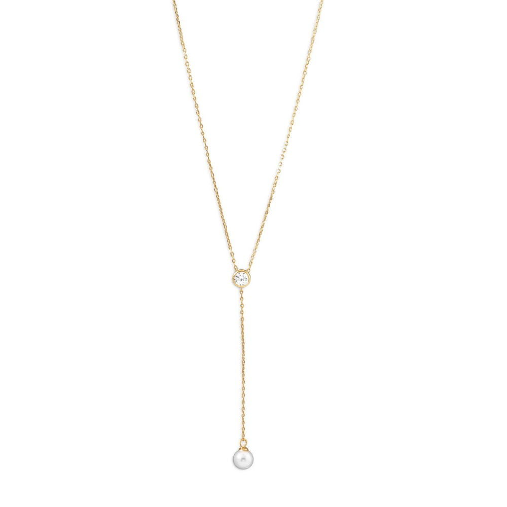 14 Karat Gold Plated Necklace with CZ + Replicated Pearl Drop