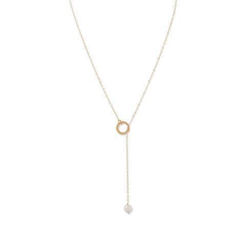 14 Karat Gold Lariat Necklace with Cultured Freshwater Pearl End.