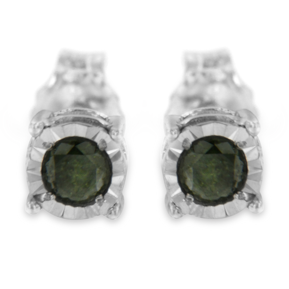 Sterling Silver 0.25ct TDW Rose Cut Treated Green Diamond Solitaire Stud Earrings (I2-I3)