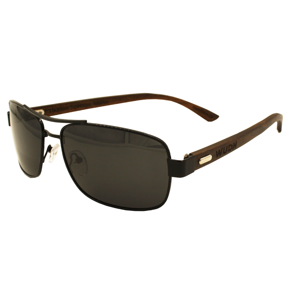 Ontrend Dark Ebony, Slim Aviators - Black Polarized Lenses