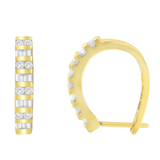 10k Yellow Gold .50 CTW Round and Baguette Diamond Hoop Earrings(I-J, I2-I3)