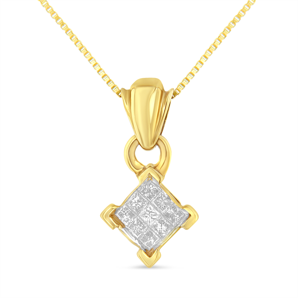 10k Yellow Gold .9ct TDW Princess Cut Diamond Pendant (H-I,SI1-SI2)