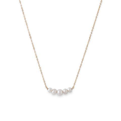 14 Karat Gold Necklace with 5 Cultured Freshwater Pearls.