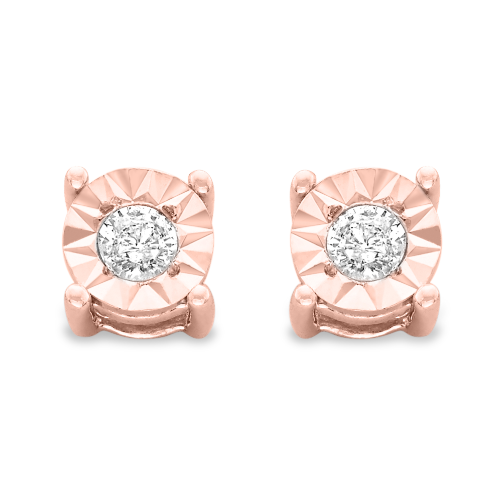 10k Rose-Gold Plated Sterling Silver .10ct. TDW Round-Cut Diamond Stud Earrings (J-K,I3)