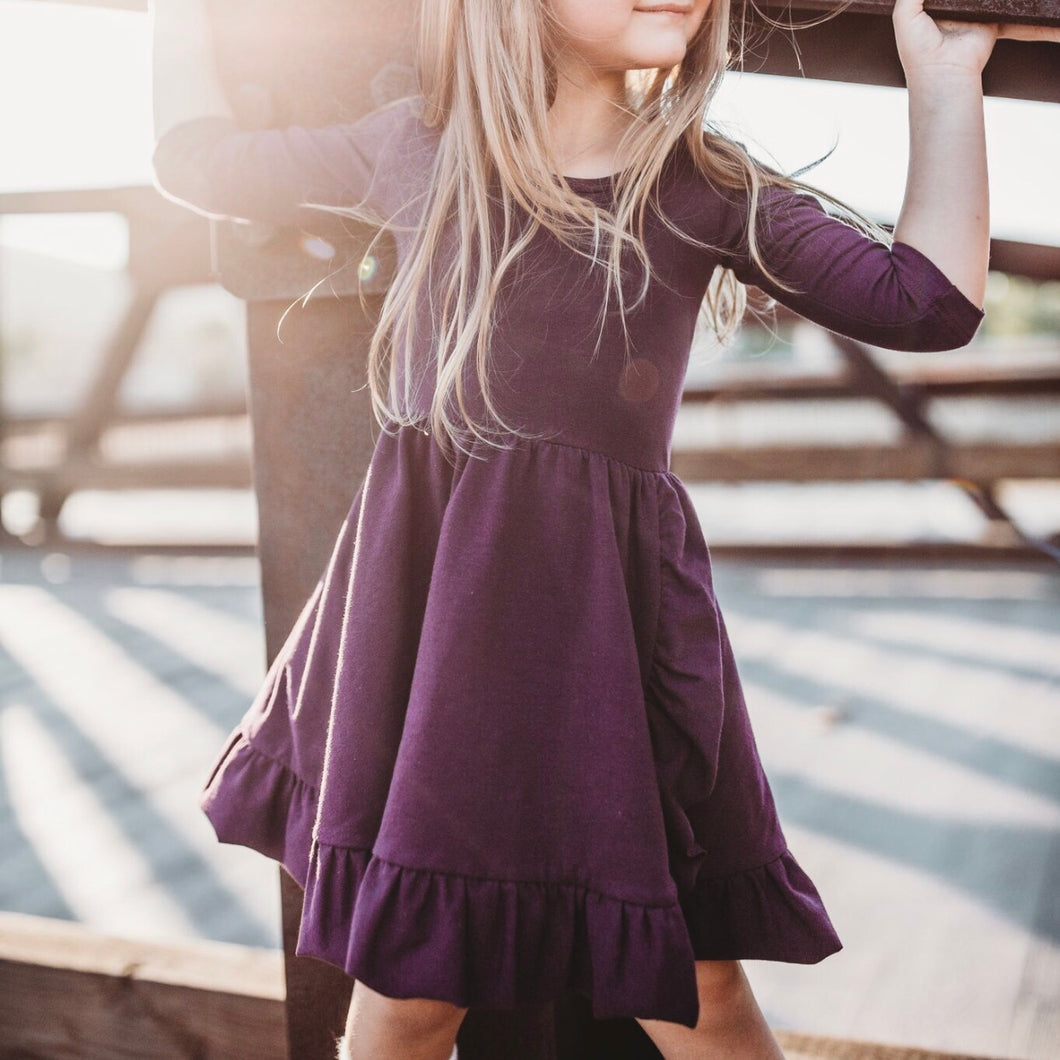 Eggplant Ruffle Twirl Dress