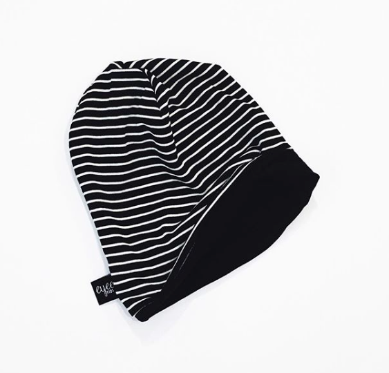 Black and Ivory Striped Beanie