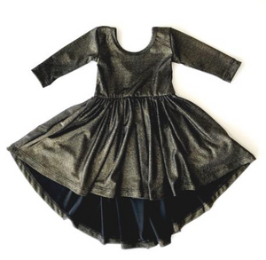 Black Shimmer High-Low Dress