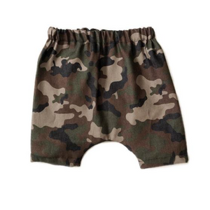 Camo Denim Harem Shorts
