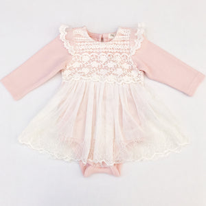Blush Lace Pattern Onesie