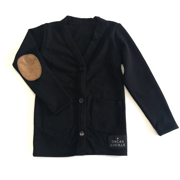 Black Elbow Patch Cardigan