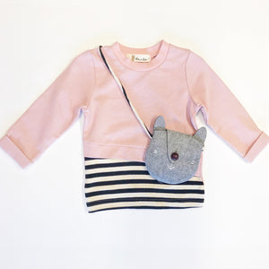 Long Sleeve Pink & Stripe Tee With Bag