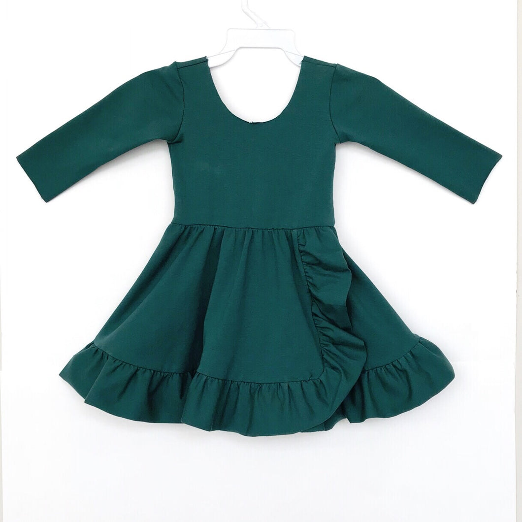 Hunter Green Ruffle Twirl Dress