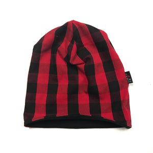 Handmade Red Buffalo Plaid Reversible Beanie