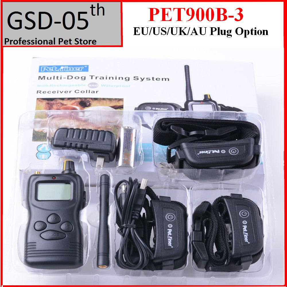 Pet Dog Training Collar System 1000 M Waterproof Rechargeable Remote Control  For 3 Dogs PET900B-3
