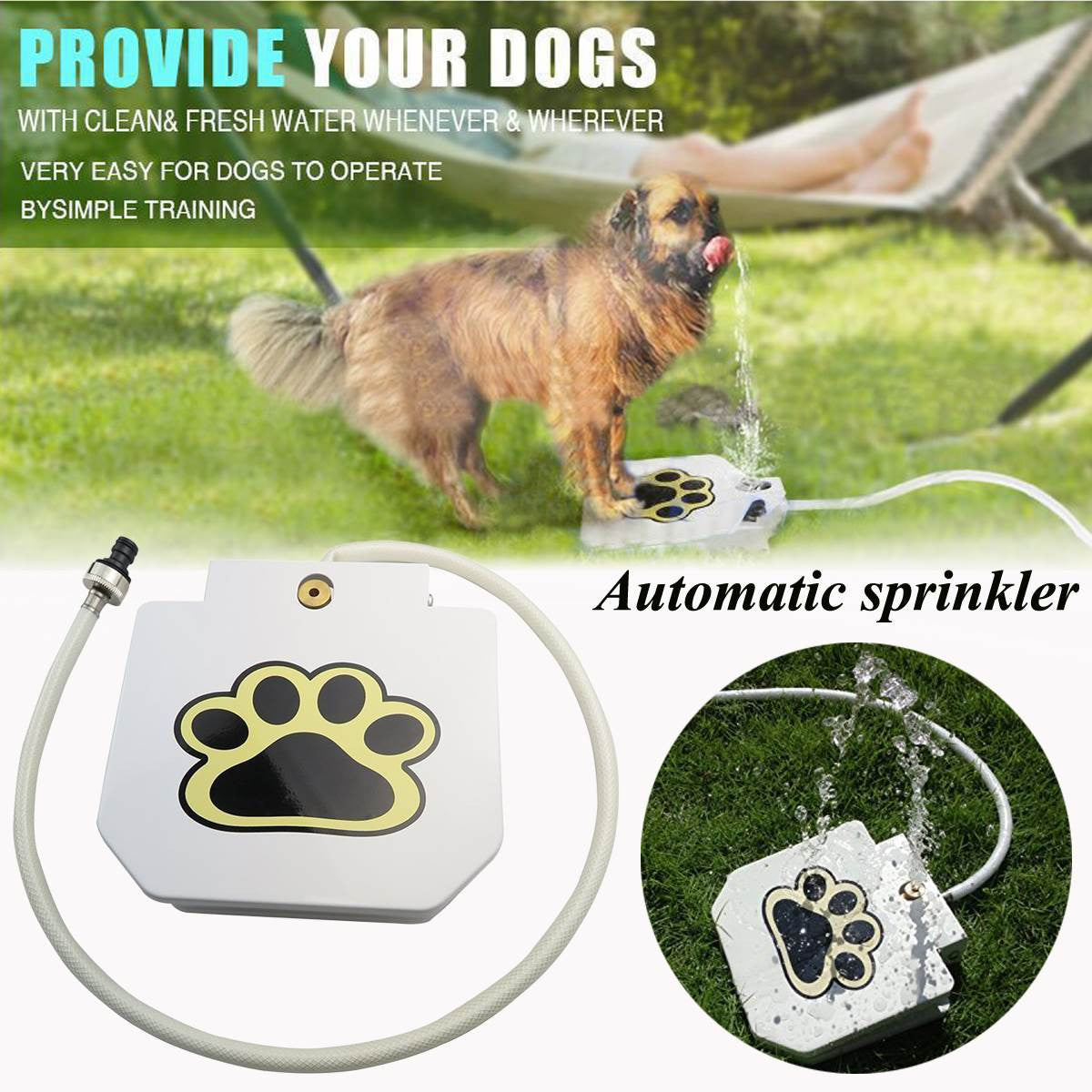 White Automatic Pet Doggie Water Fountain Dog Sprinkler Dispenser Drinker Paw Activated Portable Pet Puppy Water Feeding Tools