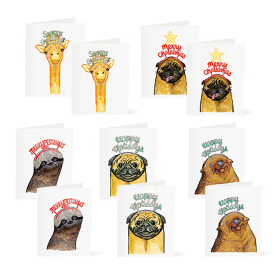 Holiday Pack 5 Designs (10 Cards) - Giraffe | Pug | Otter | Sloth | Pug