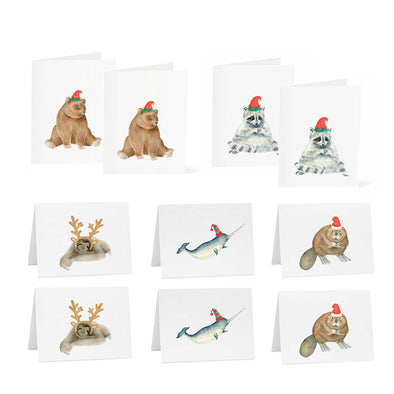 Holiday Pack 5 Designs (10 Cards) - Bear | Sloth | Beaver | Raccoon | Fox