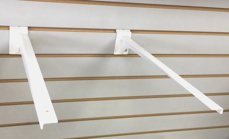 Metal Chrome White Color Shelf Slat Wall Hook For Glass Bracket and Supermarket Display (L/R)