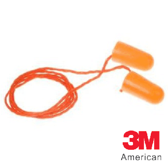 3M Corded Foam Earplugs, 1100, Orange, 100pcs - 3MS1110