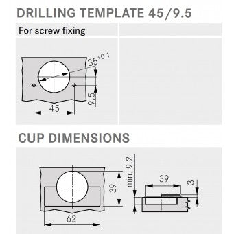 TIOMOS Tipmatic 110° NO SPRING Half overlay Screw-fixing (F046138581)