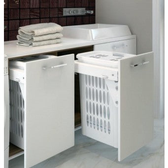 "Laundry Basket - Pull-out, White W16⅛ - 16⅜"" x D21"" x H25"" - ZLD-018"