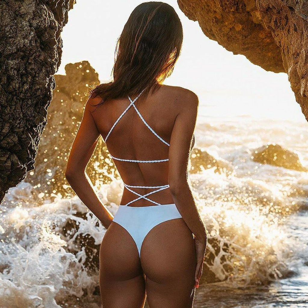 White Backless Strappy One-Piece, Swimwear - Mood:Fabulous | Find your style! Shop online women's clothing, accessories, shoes & more. Free shipping on orders over 50€.