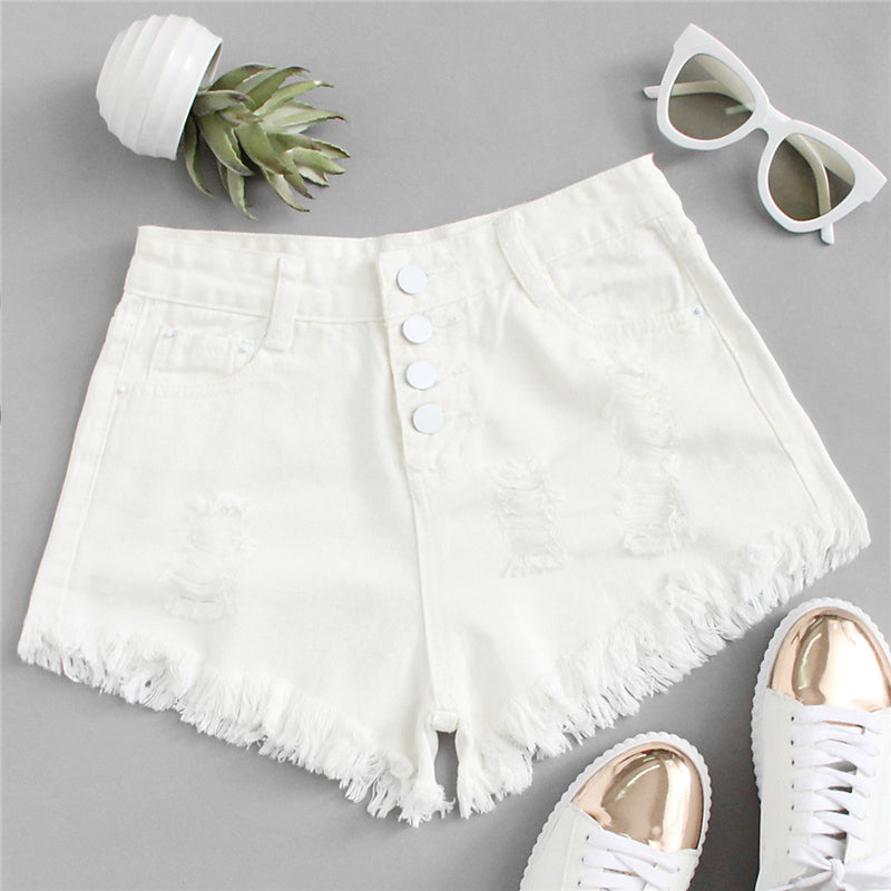 White Ripped Denim Shorts, Bottoms - Mood:Fabulous | Find your style! Shop online women's clothing, accessories, shoes & more. Free shipping on orders over 50€.
