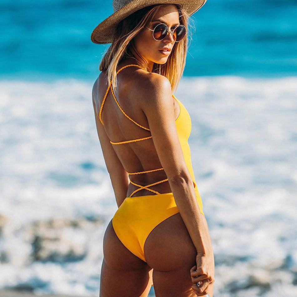 Yellow Backless Strappy One-Piece, Swimwear - Mood:Fabulous | Find your style! Shop online women's clothing, accessories, shoes & more. Free shipping on orders over 50€.