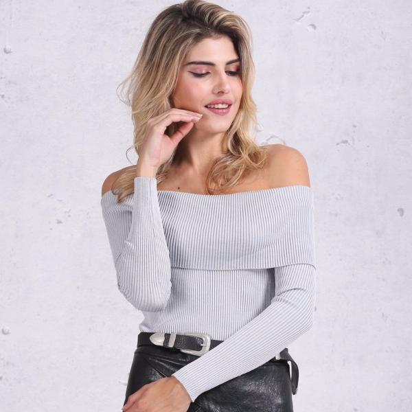 Off-Shoulder Long Sleeve Knit Top, Tops - Mood:Fabulous | Find your style! Shop online women's clothing, accessories, shoes & more. Free shipping on orders over 50€.