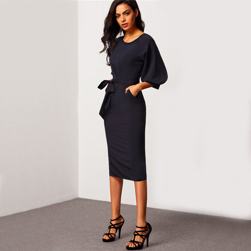 Puff Sleeve Belted Dress, Dresses - Mood:Fabulous | Find your style! Shop online women's clothing, accessories, shoes & more. Free shipping on orders over 50€.