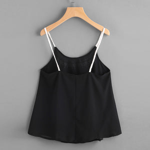 Black Chiffon Cami, Tops - Mood:Fabulous | Find your style! Shop online women's clothing, accessories, shoes & more. Free shipping on orders over 50€.