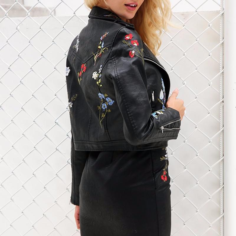 Embroidered Faux Leather Jacket, Jackets - Mood:Fabulous | Find your style! Shop online women's clothing, accessories, shoes & more. Free shipping on orders over 50€.