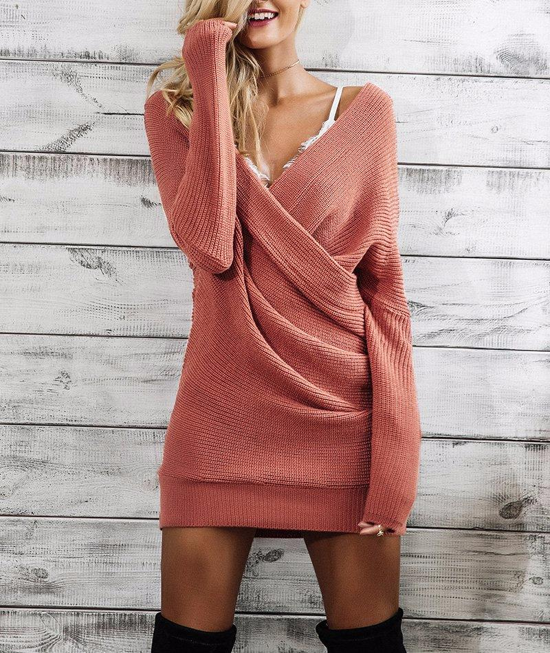 Loose Knitted Wrap Dress, Dresses - Mood:Fabulous | Find your style! Shop online women's clothing, accessories, shoes & more. Free shipping on orders over 50€.