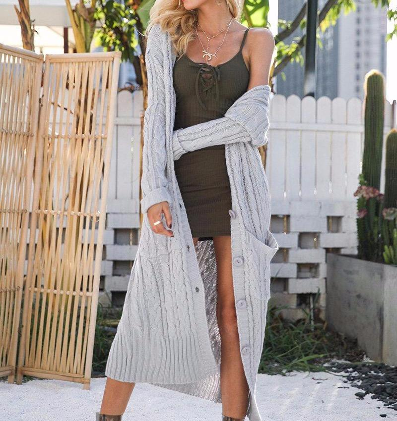 Button Down Maxi Knit Cardigan, Jackets - Mood:Fabulous | Find your style! Shop online women's clothing, accessories, shoes & more. Free shipping on orders over 50€.