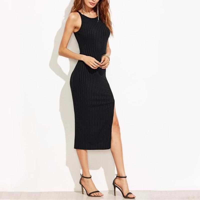 Ribbed Side Split Midi Dress, Dresses - Mood:Fabulous | Find your style! Shop online women's clothing, accessories, shoes & more. Free shipping on orders over 50€.