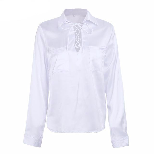 Lace-Up Long Sleeve Shirt, Tops - Mood:Fabulous | Find your style! Shop online women's clothing, accessories, shoes & more. Free shipping on orders over 50€.