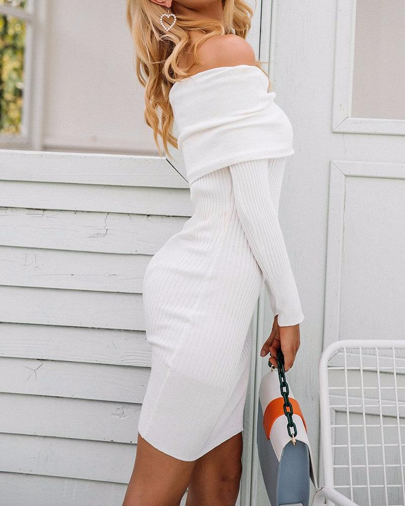 Off-Shoulder Knitted Dress, Dresses - Mood:Fabulous | Find your style! Shop online women's clothing, accessories, shoes & more. Free shipping on orders over 50€.