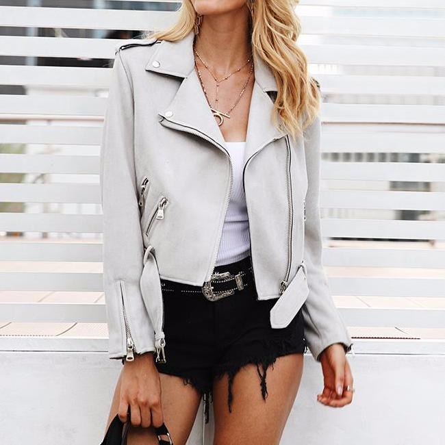 Suede Biker Jacket, Jackets - Mood:Fabulous | Find your style! Shop online women's clothing, accessories, shoes & more. Free shipping on orders over 50€.