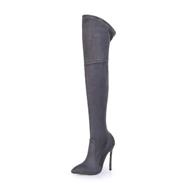 Metal Heel Over The Knee Boots, Shoes - Mood:Fabulous | Find your style! Shop online women's clothing, accessories, shoes & more. Free shipping on orders over 50€.