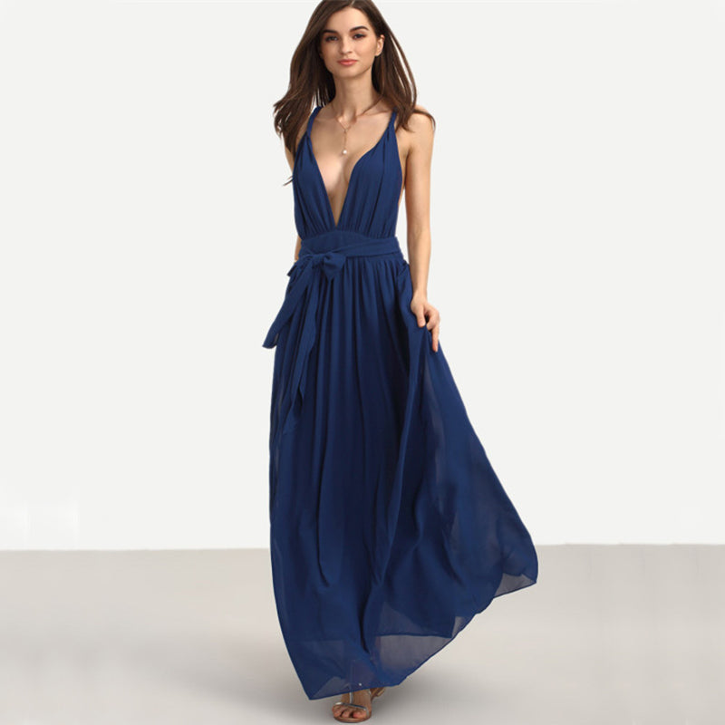 Deep V Maxi Dress, Dresses - Mood:Fabulous | Find your style! Shop online women's clothing, accessories, shoes & more. Free shipping on orders over 50€.